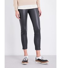 Brunello Cucinelli Cropped Leather Leggings Charcoal