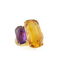 Marco Bicego 18K Cushion Cut Amethyst And Citrine Cocktail Ring Size 7
