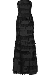 Noir Sachin And Babi Matilda Tiered Lace Paneled Faille Gown Black