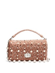 Miu Miu Faux Pearl Embellished Velvet Shoulder Bag Pink