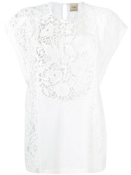 Nude Floral Detail Top Women Cotton Polyester 42 White