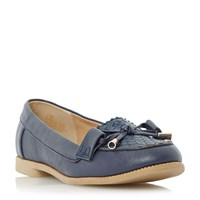 Head Over Heels Gemm Bow Trim Woven Loafers Navy