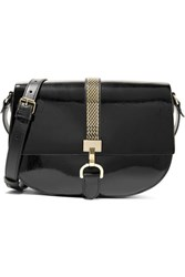 Lanvin Lien Smooth And Patent Leather Shoulder Bag Black