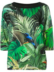 Max Mara Tropical Print T Shirt Women Silk Spandex Elastane Viscose Xl Green