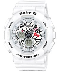 G Shock Women's Analog Digital Baby Limited Edition Hello Kitty White Resin Strap Watch 43Mm Ba120kt 7A