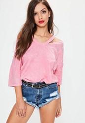 Missguided Pink Washed Deconstructed Oversized T Shirt Coral