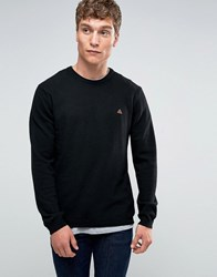 Asos Lambswool Rich Lightweight Jumper With Embroidered Logo Black
