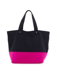 Neiman Marcus Two Tone Neoprene Tote Bag Navy Hot Pink