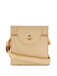 Hillier Bartley Cube Leather Clutch Gold