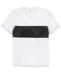 Inc International Concepts Faux Leather Block Stripe Cosmo T Shirt White Pure