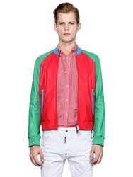 Dsquared Color Block Nappa Leather Bomber Jacket