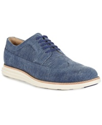 Cole Haan Lunargrand Wing Tip Wedge Sneakers Men's Shoes Marine Blue