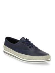 Prada Nappa Leather Espadrille Sneakers Blue