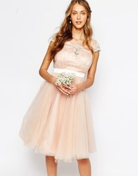 Chi Chi London Midi Dress With Tulle Skirt And Lace Back Pink