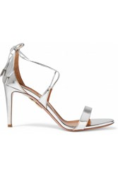 Aquazzura Linda Mirrored Leather Sandals Silver