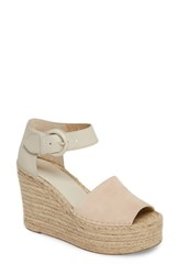 Marc Fisher Women's Ltd Alida Espadrille Platform Wedge Ivory Suede