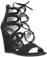 Carlos By Carlos Santana Madelyn Lace Up Wedge Sandals Women's Shoes Black