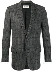 Saint Laurent Checkered Cardigan Blazer Black