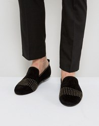 Frank Wright Slipper Shoes With Gold Stripe Blue