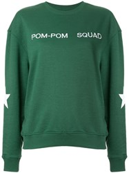 Zoe Karssen Embroidered Slogan Sweatshirt Green