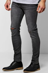 Boohoo Ripped Knee Grey Super Skinny Jean Grey