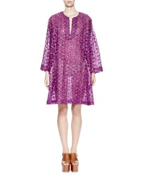 Dries Van Noten Deira Floral Embroidered Voile Tunic Dress Purple