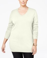 Jm Collection Plus Size V Neck Button Sleeve Sweater Only At Macy's Eggshell