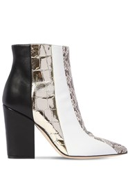 Sergio Rossi 90Mm Snakeskin And Leather Ankle Boots Black