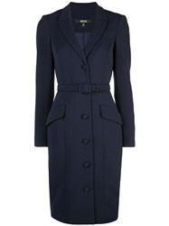 Badgley Mischka Belted Fitted Dress Blue