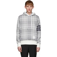Thom Browne White And Navy Jacquard Shadow Hoodie