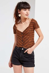Urban Outfitters Uo Mindi Button Down Top Brown Multi