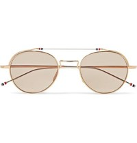 Thom Browne Round Frame Gold And Silver Tone Sunglasses Gold
