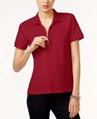 Tommy Hilfiger Zip Up Polo Top Only At Macy's Scarlet