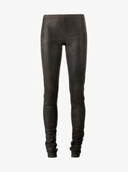 Rick Owens Lamb Leather Leggings Grey Charcoal Champagne