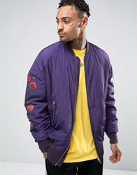 Asos Oversized Bomber Jacket With Rose Print In Purple Purple