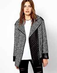 Mango Tweed Oversized Biker Jacket Black