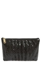 Whiting And Davis Shirred Mesh Pouch Clutch Black