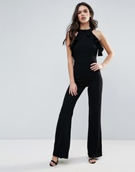 Club L Cold Shoulder Ruffle Jumpsuit With Straight Leg Black