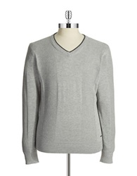 Dkny Waffled V Neck Sweater Heather Grey