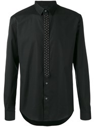 Les Hommes Studded Tie Placket Shirt Men Cotton Spandex Elastane 52 Black
