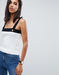 Asos Design Ribbed Tank With Gold Button Detail Multi
