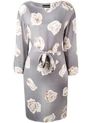 Boutique Moschino Floral Print Belted Dress Women Rayon 42 Grey