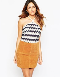 Asos Halter Top In Textured Zig Zag Stripe Navycream
