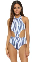 Shoshanna Pleated Waves Sporty Monokini Blue White