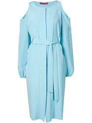 Tamara Mellon Cut Out Shoulder Shirt Dress Blue
