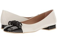French Sole Tumble White Black Patent Leather Women's Flat Shoes Multi