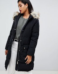 Vila Down Padded Jacket With Faux Fur Black