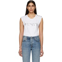 Balmain White Buttoned Logo Sleeveless T Shirt