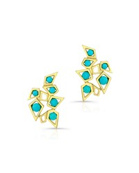 Ron Hami 14K Turquoise Cluster Earrings