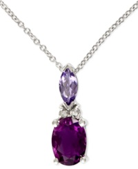 Effy Collection Effy Amethyst 3 4 Ct. T.W. Tanzanite 1 4 Ct. T.W. And Diamond Accent Pendant In 14K White Gold